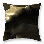 Bull Market Bronze Casting Contrast Throw Pillow by Allan Swart