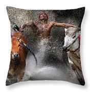 Bull Race Throw Pillow by Wei Seng Chen