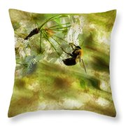 Bumble Bee Eating Sweet Nectar Throw Pillow by Dan Friend
