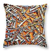 Bunch Of Screws 1- Digital Effect Throw Pillow by Debbie Portwood