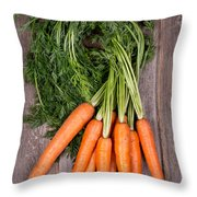 Bunched Carrots Throw Pillow by Jane Rix