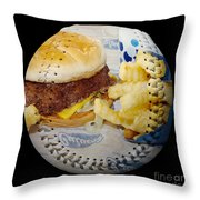Burger And Fries Baseball Square Throw Pillow by Andee Design
