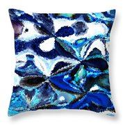Bursts Of Blue And White - Abstract Art Throw Pillow by Carol Groenen