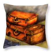 Business Man - Packed Suitcases Throw Pillow by Mike Savad