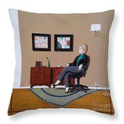 Businesswoman Sitting In Chair Throw Pillow by John Lyes