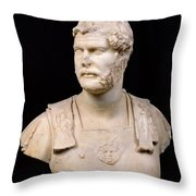 Bust Of Emperor Hadrian Throw Pillow by Anonymous