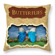 Butterflies Button Throw Pillow by Mike Savad
