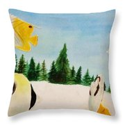 Butterfly Fish Throw Pillow by Savanna Paine