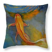 Butterfly Koi Throw Pillow by Michael Creese