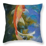 Butterfly Koi Painting Throw Pillow by Michael Creese