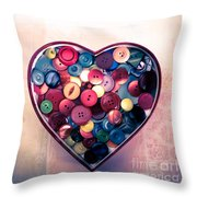 Button Love Throw Pillow by Jan Bickerton