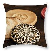 Button Still life Throw Pillow by Tom Mc Nemar