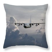 C130 Hecules    In Trail Throw Pillow by Pat Speirs