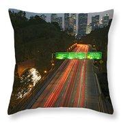 Ca 110 Pasadena Freeway Downtown Los Angeles At Night With Car Lights Streaking_2 Throw Pillow by David Zanzinger