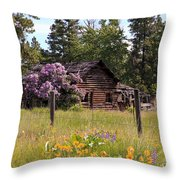 Cabin And Wildflowers Throw Pillow by Athena Mckinzie