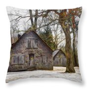 Cabin Dream Throw Pillow by Debra and Dave Vanderlaan
