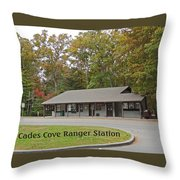Cades Cove Ranger Station Throw Pillow by Marian Bell