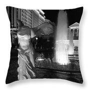 Caesars Fountain Bw Throw Pillow by Jenny Hudson