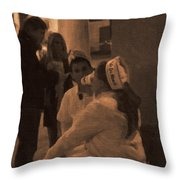 Cafe Du Monde Evening In New Orleans In Monochrome Throw Pillow by Kathleen K Parker