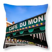 Cafe Du Monde Picture in New Orleans Louisiana Throw Pillow by Paul Velgos