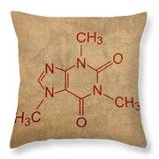 Caffeine Molecule Coffee Fanatic Humor Art Poster Throw Pillow by Design Turnpike