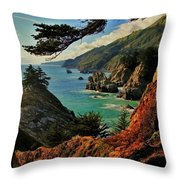 California Coastline Throw Pillow by Benjamin Yeager