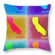California Pop Art Map 2 Throw Pillow by Naxart Studio