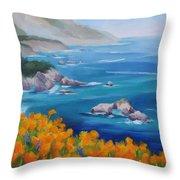 California Poppies Big Sur Throw Pillow by Karin  Leonard