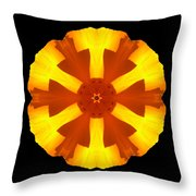 California Poppy Flower Mandala Throw Pillow by David J Bookbinder