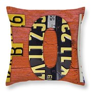 California State Name In License Plates Art Throw Pillow by Design Turnpike