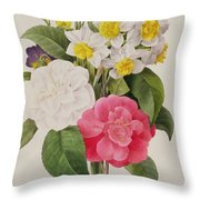 Camellias Narcissus And Pansies Throw Pillow by Pierre Joseph Redoute