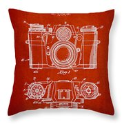 Camera Patent Drawing From 1962 Throw Pillow by Aged Pixel