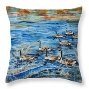 Canada Geese Throw Pillow by Zaira Dzhaubaeva