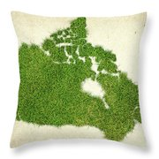 Canada Grass Map Throw Pillow by Aged Pixel