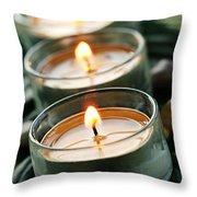 Candles On Green Throw Pillow by Elena Elisseeva