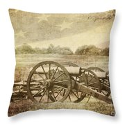 Cannons At Pea Ridge Throw Pillow by Pam  Holdsworth