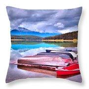 Canoes At Lake Patricia Throw Pillow by Tara Turner