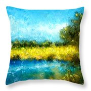 Canola Fields Impressionist Landscape Painting Throw Pillow by Michelle Wrighton