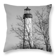 Cape May Light B/w Throw Pillow by Jennifer Lyon
