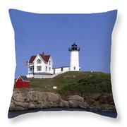 Cape Neddick Light Station In Maine Throw Pillow by Mountain Dreams