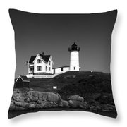Cape Neddick Light Station Throw Pillow by Mountain Dreams