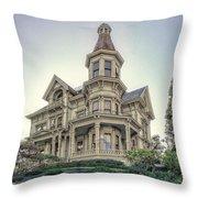 Captain George Flavel Victorian House - Astoria Oregon Throw Pillow by Daniel Hagerman