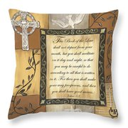 Caramel Scripture Throw Pillow by Debbie DeWitt