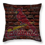 Cardinals Baseball Graffiti On Brick  Throw Pillow by Movie Poster Prints