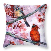 Cardinals  Throw Pillow by Zaira Dzhaubaeva