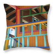Caribbean Railings Throw Pillow by Randall Weidner