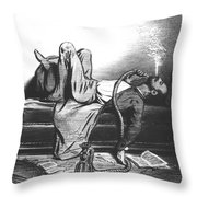 Caricature Of The Romantic Writer Searching His Inspiration In The Hashish Throw Pillow by French School