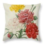 Carnations From Choix Des Plus Belles Fleures Throw Pillow by Pierre Joseph Redoute