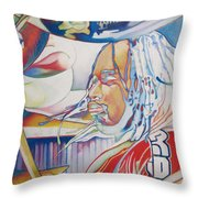 Carter Beauford Colorful Full Band Series Throw Pillow by Joshua Morton