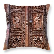 Carved wooden door at Bhaktapur in Nepal Throw Pillow by Robert Preston